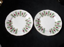 2 X VINTAGE ELEGANT GILDED SIDE PLATES GAINSBOROUGH CHINA ROSE GREEN COLUMN RIM